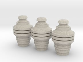 X-Wing Pilot Data Cylinders Heads in Natural Sandstone