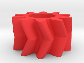 Double Helical Involute Gear M1.5 T10 in Red Processed Versatile Plastic