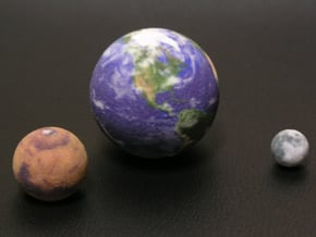 """Earth Moon Mars to scale. 50mm / 2"""" globe in Full Color Sandstone"""