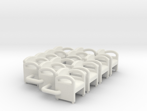 Waiting Room Chairs HO Scale in White Natural Versatile Plastic