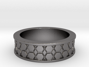 Hexagon Band Ring Size 9 in Polished Nickel Steel