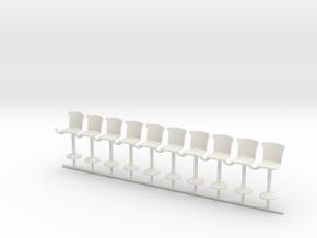 S Scale Bar Stools version C X10 in White Natural Versatile Plastic