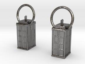 Tardis Earrings in Polished Nickel Steel