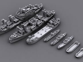 1/4800 US Navy Amphibious Ships & Crafts in Smooth Fine Detail Plastic