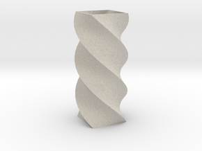 Twisted Poly 4 Cornered Pencil Cup in Natural Sandstone