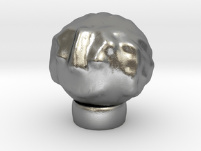 Sculptris Head With Hair On Tinkercad Ring in Natural Silver