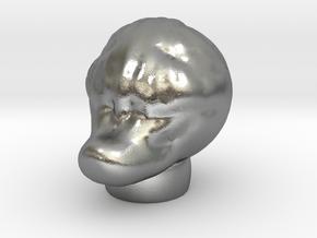 Sculptris Lizard Duck Creature head in Natural Silver