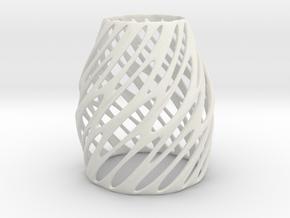 Tea Light Circular Shade in White Natural Versatile Plastic