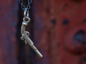 Pistol Necklace in Polished Bronzed Silver Steel