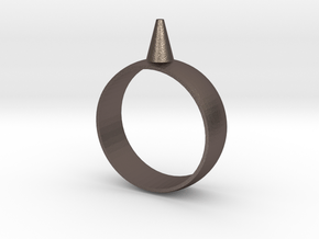 11.5 223-Designs Bullet Button Ring Size  in Polished Bronzed Silver Steel