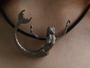 Mermaid Pendant in Polished Bronzed Silver Steel