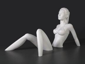 Sinking Girl Art Sculpture in White Natural Versatile Plastic