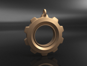 Gear Pendant in Natural Brass