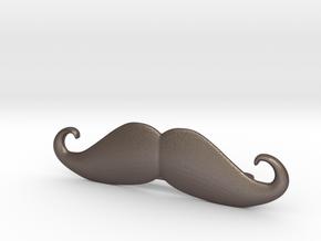 """Italian"" Moustache Tie Bar (Metals) in Polished Bronzed Silver Steel"