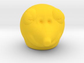 Bear Head in Yellow Processed Versatile Plastic