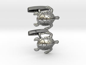 Turtle Cufflinks in Fine Detail Polished Silver