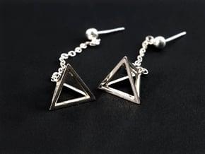 Tetrahedron earrings #Silver in Fine Detail Polished Silver