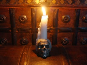 Yorick Skull Candle Holder in Polished Bronzed Silver Steel
