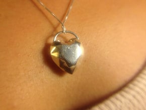 Large Heart Pendant for Necklace in Fine Detail Polished Silver