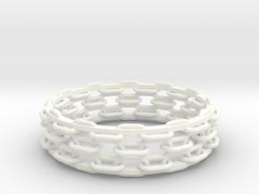 Open Chain Bangle in White Processed Versatile Plastic
