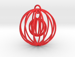 Christmas Sphere with moving Miniature in Red Processed Versatile Plastic