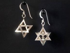 Star Tetrahedron earrings #Silver in Fine Detail Polished Silver