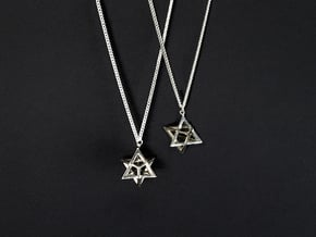 Star Tetrahedron double-pendant #Silver in Fine Detail Polished Silver