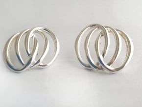 Three Rings Earrings in Polished Silver