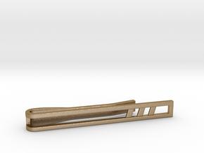 Minimalist Tie Bar - Triple Slash in Polished Gold Steel