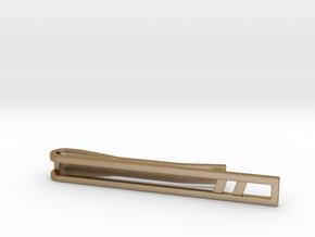 Minimalist Tie Bar - Double Slash in Polished Gold Steel