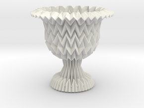 Cup / Vase Tessellated With Closed Center in White Natural Versatile Plastic