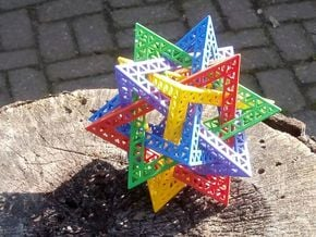 Compound of 5 Tetrahedra, 16cm in Full Color Sandstone
