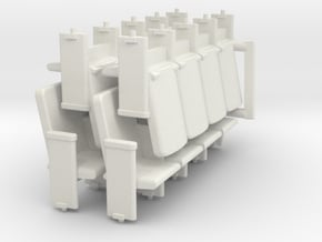 Four set of HO Scale theater seats in White Natural Versatile Plastic