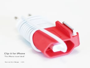 Clip-it - The iPhone travel dock in Red Processed Versatile Plastic