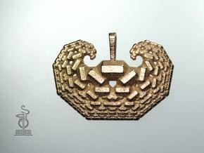 'Curling Crystals' : 3D fractal design in Polished Bronzed Silver Steel