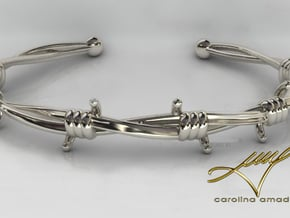 Barb Wire Bracelet in Polished Silver