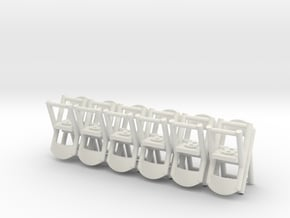 Folding Chairs HO Scale X12 in White Natural Versatile Plastic