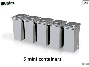 5 Minicontainers (n-scale) in Smooth Fine Detail Plastic