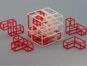 """""""SOMA's Revenge"""" - Interlocking Puzzle Cube in White Natural Versatile Plastic"""