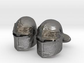 Medieval Helmet Cufflinks in Polished Nickel Steel