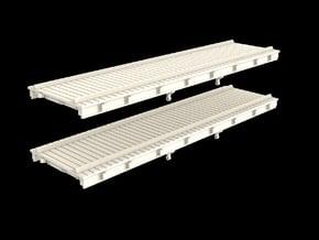 N Scale (Nn3) Low Profile 30' Flat w/ Rails in Smooth Fine Detail Plastic