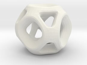 Geodesic Accent Sculpture in White Natural Versatile Plastic