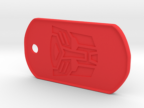 Autobot Dog Tag (Rimmed) in Red Processed Versatile Plastic