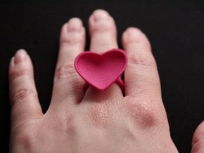 Curved Heart Ring 17,3mm in Pink Processed Versatile Plastic: 7 / 54