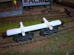 22 Foot Log car Russell  HO 1/87 scale in White Natural Versatile Plastic