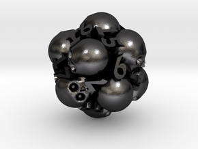 Spin-Down Ossuary d20 in Polished and Bronzed Black Steel