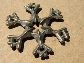Snow Flake 6 Points A - 5cm in Polished Bronzed Silver Steel