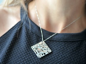 Boxed Floral - Pendant Necklace in Polished Silver