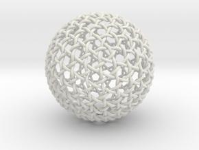 Hexa Weave Sphere in White Natural Versatile Plastic