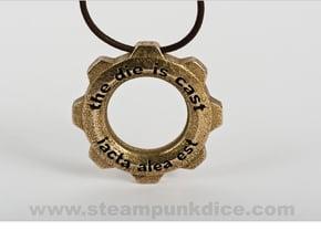 Steampunk Gear Pendant in Polished Bronzed Silver Steel